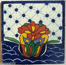 "C295- Mexican Handmade Talavera Clay Tile Folk Art 4x4""  Handpainted"