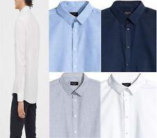Mens Long Sleeve Formal Shirt White Blue Grey Navy Office Work Slim Fit Tops