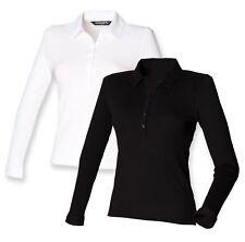 Womens Ladies Ladys Long Sleeve Cotton BLACK or WHITE Modern Stretch Polo Shirt