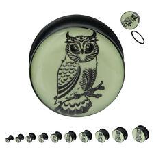 """Plugs Owl Glow in the dark UV Acrylic Single Flare - 8 Gauge to 3/4"""""""