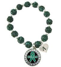 Custom Celiac Disease Awareness Green Bling Bracelet Jewelry Choose Initial