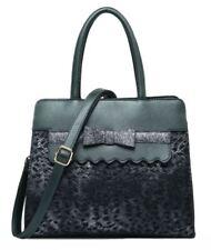 Ladies Faux Leather Handbag Leopard Print Glitter Bow Fashion Designer