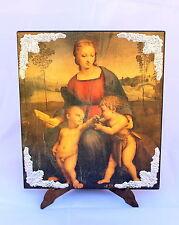 Madonna du Chardonneret élégant carré sur bois avec des coins argent 925/1000