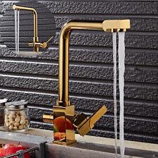 Kitchen Sink Faucet Spout Gold Deck Mounted 360° Swivel Double Handles Mixer Tap