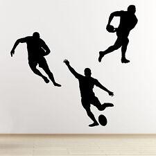 Jugador de rugby Pegatinas De Pared-Paquete de 3 Silueta De Deportes Pared Arte Pegatinas