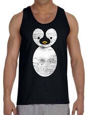 Men's Cute Cartoon Penguin Black Tank Top Novelty Animals Gift Idea Muscle Tee