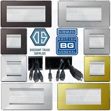BG Nexus Single & Double Gang Screwless Brush Stripe Cable Entry Wall Plate TV