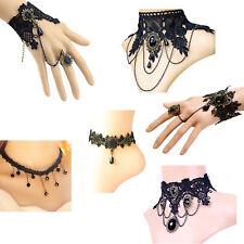 Damen Kette Gothic Collier Acryl Spitze Armbänder mit Ring Fußkette Lolita