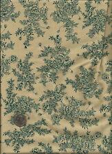 Nice Leaf & Floral Print drk greenish teal on tan or drk ecru Fabric