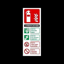Biossido di carbonio (CO2) estintore ID Firmare, Adesivo-tutti i materiali - (FE31)