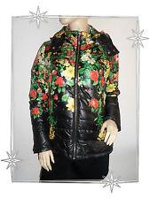 Magnifique Blouson avec Capuche Noir Imprimé Fleurs Paco Boutique Neuf