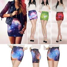 2017 New Women's A-line Skirt Digital Printing High Waist Universe Galaxy Dress