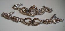Western look Silver & Gold finish Heart fashion women casual watch or Bracelet