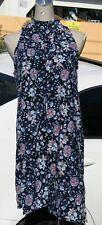 A-line mini dress/tunic top, floral print, sleeveless, blue, size S,M