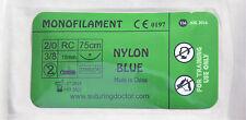 2-0 3-0 4-0 5-0 6-0 NYLON BLUE MONOFILAMENT SUTURES 75cm 18mm TRAINING USE NEW