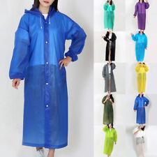 Waterproof Jacket Clear PE Raincoat Rain Coat Hooded Poncho Women Men Rainwear *