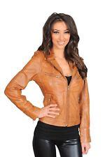 Womens TAN Leather Biker Jacket Italian Designer Slim Fit Zip Up Casual Coat