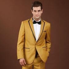 Men's Orange 2Pcs Suit Groomman Tuxedos Dinner Prom Wedding Suit Blazer Custom