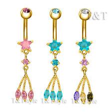 Dangle Belly Button Ring Choose Colour Ttstyle 14K Gold Gp Cz Star