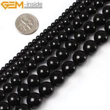 "Natural Gemstone Black Agate Onyx Round Beads For Jewellery Making Strand 15"" UK"