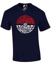 CATTURA tutti i Em Da Uomo T Shirt POKEMON Ash Pikachu GO design Mew Retrò Top S - 5XL
