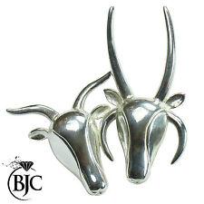 BJC argento sterling massiccio Jacob Pecora 2 CORNA & 4 CORNUTO SPILLA