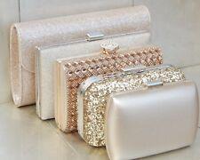 Gold Diamante Crystal Evening Party Bridal Prom Clutch Bag Purse Handbag UK