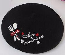 NEW Lady Women Black Wool blend Winter warm french Artist Round Beret hat Cap