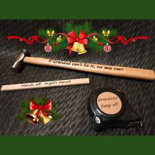 Real Gift Engraved Personalised hand tools set lot Him Grandad hammer Dad Tape
