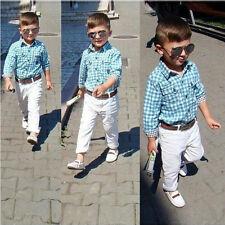 Kids Toddler Boys School Suit Gentleman Clothing Long Sleeve Plaids Blouse Pants