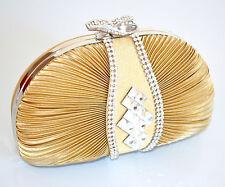 POCHETTE donna BORSELLO ORO CRISTALLI CLUTCH borsa elegante CERIMONIA bolsa 780B