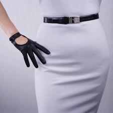 TECH GLOVES Real Leather Short Black Lambskin Sheepskin Belt with Button Closure