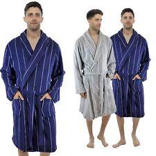 4a71e29348 Mens Luxury Coral Fleece Pinstripe Shawl Collar Soft Dressing Gown Robe  M-2XL