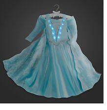 Disney Store Authentic FROZEN Elsa Deluxe Light Up Costume Dress Size 8 10 NWT