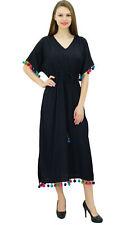 Bimba Womens Long Kaftan Dress With Pom Pom Maxi Designer Chic Coverup Caftan