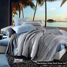 250Tc 100% Cotton Manhattan Stripe Quilt Cover Set - Single Double Queen King