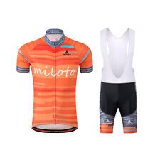 Men's Cycling Wear Short Sleeve Clothing Bike Jersey and (Bib) Shorts Set Orange