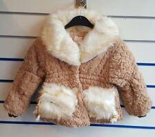 Girls Luxury Faux Fur Winter Coat camel cream
