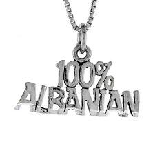 "Sterling Silver ""100% Albanian"" Word Pendant / Charm, 18"" Italian Box Chain"