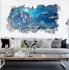 3d Mountain UFO 001 Wall Mural Stickers Decal breakage AJ wallpaper it