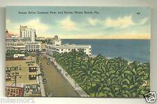 Ocean Drive Lummus Park Miami Beach Florida postcard 1940s