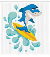 Ride The Wave Shower Curtain Funny Shark Surf Print for Bathroom