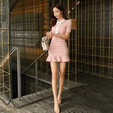 Elegante vestito abito  tubino rosa cipria  evento corto scollato morbido 4702