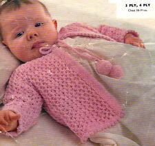 Knitting pattern bambino prematuro Ragazzi Ragazze Cardigan Maglioni Scialli Coats NV12