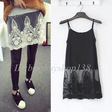 Camisole Long Tank Dress Slip Top Extender Lace Trim Layering Vintage Shirt Plus