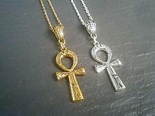 "Egyptian Ankh Cross Pendant Silver Gold Necklace Jewellery Gift 16""-24"" UK"