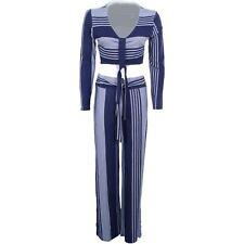 Ladies Tie Knot Front Plunge V Neck Stripe Crop Top Wide Leg Trouser Set Suit