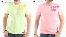 G-Star RAW Men's NEW T Shirts HAWAII JERSEY Pink/Yellow