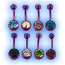 Purple Titanium Jewelled Belly Bar UK Made 6AL-4V ELi Choose Gem and length