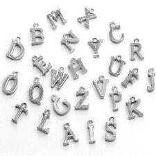 10 Piezas 12mm Tibetano aleación de plata encanto Colgantes-Variedad De letra del alfabeto